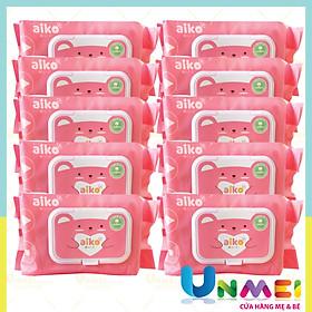 Combo 10 gói Khăn Giấy Ướt Aiko 100 tờ/gói không hương màu Hồng