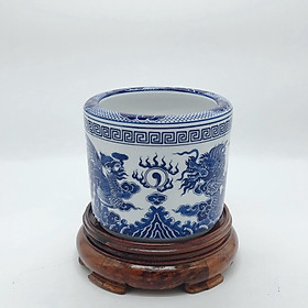 Combo bát hương xanh lam rồng phượng và đế (gỗ hương)