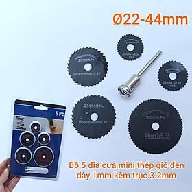 Bộ 5 đĩa cưa mini thép gió đen dày 1mm kèm trục 3.2mm đường kính 22, 25, 32, 35, 44mm
