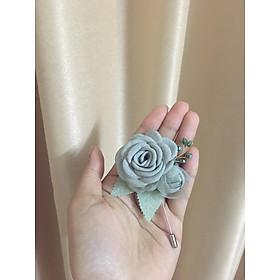 Hoa cài áo handmade đóa hồng xanh ngọc