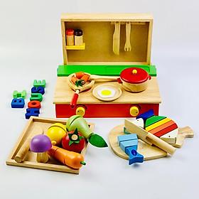 Combo đồ chơi nhà bếp : bộ nấu ăn  - bộ cắt cá- bộ cắt trái cây Mykids- đồ chơi gỗ