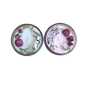 Combo 2 nến thơm tinh dầu 100g: 1 nến thơm tinh dầu hoa Anh đào, 1 nến thơm tinh dầu Lily, giúp thư giãn, thơm phòng khử mùi, handmade
