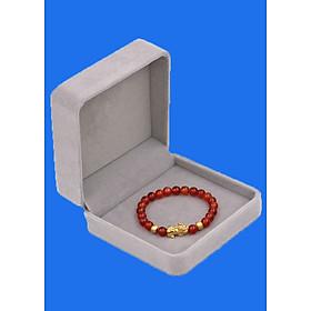 Vòng đeo tay đá Mã Não đỏ 6 ly cẩn Tỳ Hưu inox vàng VMNOTHHBV6 HỘP NHUNG - hợp mệnh Hỏa, mệnh Thổ