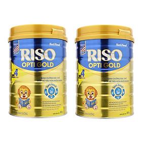 Bộ 2 Lon Sữa NutiFood RISO OPTI GOLD 4 Lon 900g Cho Trẻ Từ 2 Tuổi Trở Lên
