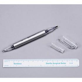 Combo 2 dụng cụ kẻ tạo khung chân mày bút + thước
