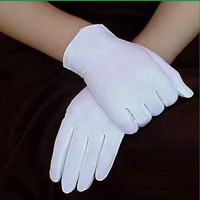 Bao tay trắng, găng tay vải Cotton, thun Poly. lễ tân, sự kiện, kiểm định. Gói 12 đôi