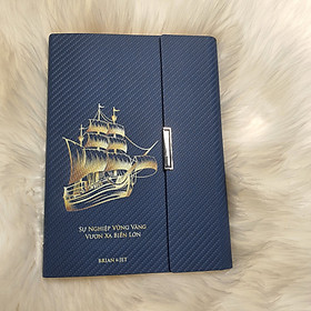 Sổ Da Người Lái Đò , Vươn Xa Biển Lớn  S010BL cao cấp dành cho doanh nhân, Khẳng Định Đẳng cấp cá nhân