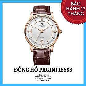 Đồng hồ nam PAGINI PA16688 cao cấp dây da thật mặt tròn – Thiết kế sang trọng, lịch lãm