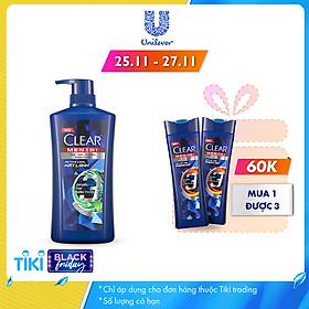 Dầu Tắm Gội Clear Men 3 Trong 1 - Active Cool Mát Lạnh (630g)