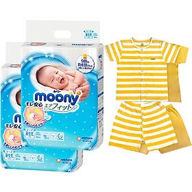 Bộ 2 tã dán cao cấp Moony Newborn 90 [Tặng bộ quần áo Nous 9-12m]-0