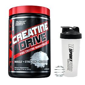 Combo Thực phẩm bổ sung Creatine Drive của Nutrex 60 lần dùng hỗ trợ tăng sức bền, sức mạnh, độ dày cơ bắp & Bình lắc 600ml (Màu ngẫu nhiên)