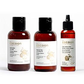 Bộ 3 Chăm sóc da mụn Cocoon: Gel rửa mặt bí đao 140ml + Toner bí đao 140ml + Serum tinh chất bí đao 70ml