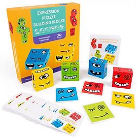 Đồ chơi xếp hình nhập vai biểu cảm khuôn mặt bằng gỗ board game thông minh an toàn cho bé từ 3 tuổi Roadstar