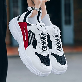 Giày Nam Thể Thao Sneaker Trắng Vải Dệt Đế Cao Su Nguyên Khối Siêu Êm Chân Phối Đen Đỏ Cực Chất Phong Cách Hàn Quốc (Hình thật) CTS-GN052-2