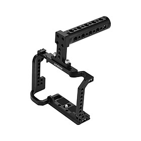 Andoer Video Camera Cage + Top Handle Kit Aluminum Alloy with Cold Shoe Mount 1/4 Inch Screw Holes Compatible with Nikon