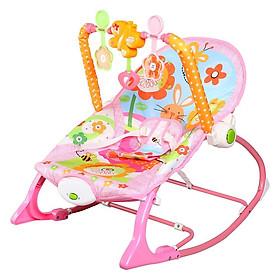 Ghế rung, Ghế nhún dành cho Bé từ sơ sinh đến 18kg, có phát nhạc kích thích sự phát triển não bộ của trẻ màu Hồng