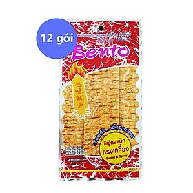 Lốc 12 Gói Snack Mực Tẩm Gia Vị Cay Ngọt Bento (6g / Gói) Nhập Khẩu Từ Thái Lan