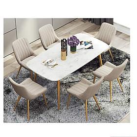 Bộ Bàn Ăn Luxury Mạ Vàng Siêu Phẩm của Năm BBDP-02 - Kích Thước 1.4m x 80cm và 6 Ghế  (Màu ghế ngẫu nhiên)