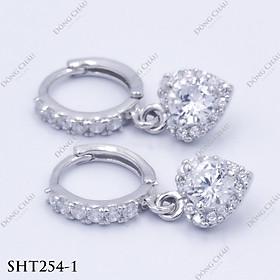 Hoa tai khoen hình trái tim tòng teng có đính viên kim cương nhân tạo bạc Ý cao cấp - SHT254