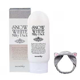 Kem tắm trắng mặt và toàn thân Secret Key Snow White Milky Pack 200g + Tặng 1 Băng Đô Tai Mèo Xinh Xắn ( Màu Ngẫu Nhiên)