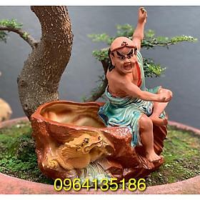Tượng chậu trồng cây la hán hàng long h39cm gốm sứ Bát Tràng