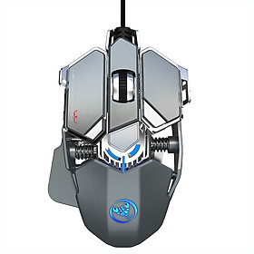 HXSJ J600 Wired Gaming Mouse Nine-key Macro Programming Mouse with Six Adjustable DPI Colorful RGB Light Effect Grey