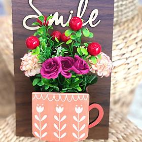 Bảng Gỗ hoa treo tường trang trí Smile