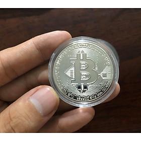 Đồng Bitcoin phi kim mạ Bạc, kèm hộp đựng sang trọng