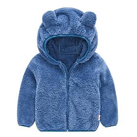 Áo khoác lông tai gấu màu xanh bé trai 1-6 tuổi