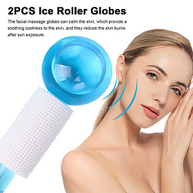 2PCS Ice Roller Globes Facial Roller Cold Skin Massagers Crystal Glass Ball for Redness Soothing Face Wrinkle Remover