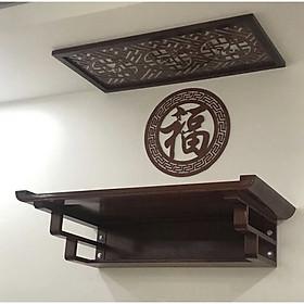 Bàn thờ treo tường gỗ sồi , phun mầu nâu gỗ , sản phẩm có nhiều kích thước ( tặng kèm tấm chống ám khói và chữ trang trí chữ phúc hán) BH308