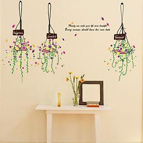 Decal dán tường 3 giỏ hoa Beauty can make DLX5329