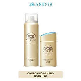 Combo Kem chống nắng dưỡng da dạng sữa Anessa Milk SPF 50+ PA++++ 60ml và Kem chống nắng dưỡng da dạng xịt Anessa Spray 60g