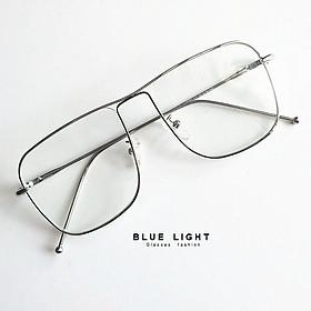 Kính Giả Cận, Gọng Kính Cận Nam Nữ Mắt Vuông To Gọng Bạc Đan Chéo Không Độ Hàn Quốc - BLUE LIGHT SHOP