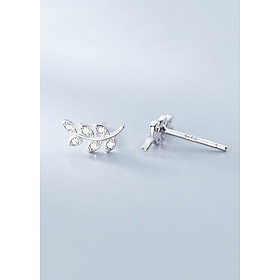 Bông Tai Nữ   Bông Tai Nữ Bạc S925 Nhành Lá Thạch Thảo B2522 - Bảo Ngọc Jewelry