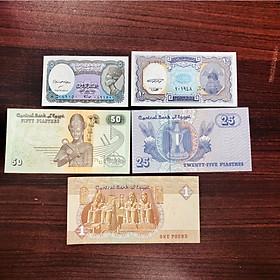 Bộ 5 tờ tiền Ai Cập , tiền cổ sưu tầm, hình ảnh kim tự tháp, Pharaon - tặng kèm bao lì xì The Merrick Mint