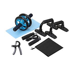 AB Wheel Roller Kit Abdominal Press Wheel  Jump Rope and Knee Pad Portable Equipment for Home Exercise Muscle Strength-4