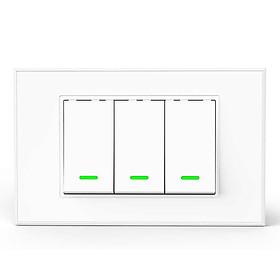 Công tắc cơ Wifi thông minh điều khiển 3 bóng đèn từ xa qua Smartphone HCN White cao cấp - Hàng nhập khẩu