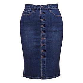 Chân Váy Jean 9 Nút Myone MS120084 - Xanh Nhạt