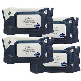 Bộ 4 Gói Khăn Ướt Wesser 80 Tờ / gói (Màu Xanh Navy) chất liệu Vải Dập Nổi cao cấp – Không Hương – Không Parapen
