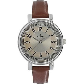 Titan Neo Women's Designer Watch - Quartz, Water Resistant, Leather Strap – Brown Band and Off-White Dial