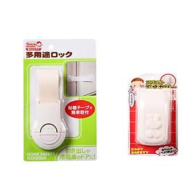 Combo Khóa ngăn kéo, tủ lạnh + Hộp bọc ổ điện bảo vệ trẻ em Nhật Bản