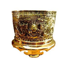 Bát hương bằng đồng thau đúc nổi rồng phượng Tâm Thành Phát