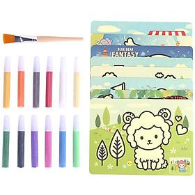 Bộ 14 tranh cát 12 màu tập tô màu cho bé Deli - Bộ gồm 12 màu, 14 tranh, 1 cọ, 1 khay - 9674