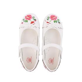 Giày búp bê bé gái Crown Space Crown UK Princess Ballerina CRUK3112 - Màu trắng