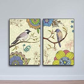Bộ 2 Tranh Chim Và Hoa Phong Cách Vẽ Tay - W686