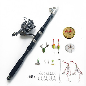 Bộ Cần câu cá cacbon + Máy câu CL7000 + Tặng kèm 11 phụ kiện  (TPB108)