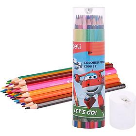 Ống Bút Chì Màu Học Sinh Deli EC00837 - 36 Màu - Kèm Gọt Chì