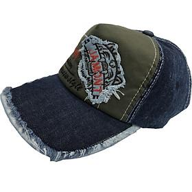 Nón kết jean nón lưỡi trai nam vải jean cao cấp thời trang Everest màu đen phối rêu đậm