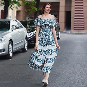 Đầm Maxi Hoa Đầm Dài Trễ Vai Thời trang thiết kế Hity DRE125 (In Lá Xanh)